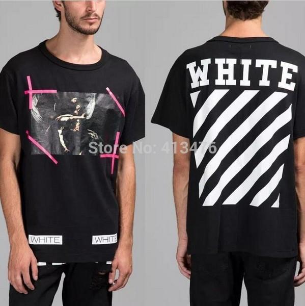 2016 TOP Version Summer Men Brand Off White VIRGIL ABLOH T Shirt Print  Religion Painting CARAVAGGIO 13 Stripe Cotton Tee Label T Shirt Shirt  Awesome T ... 47354ae771d9