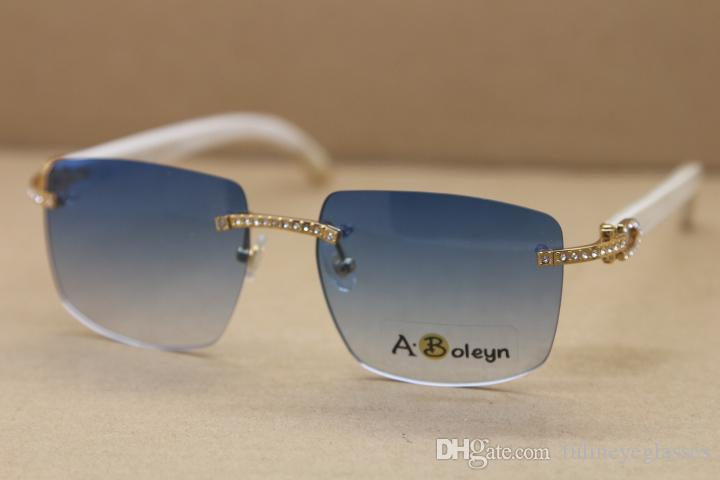 2020 Новый стиль Samll Алмазный Солнцезащитные очки без оправы T8300816 White Buffalo Horn очки известный C Украшение Размер кадра: 54-18-140mm