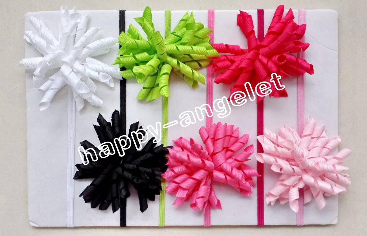Girl Boutique Solid Korker curly Ribbon Hair clips bows Elastic Iridescent headband baby corker hair bands Christening hair ties PD01