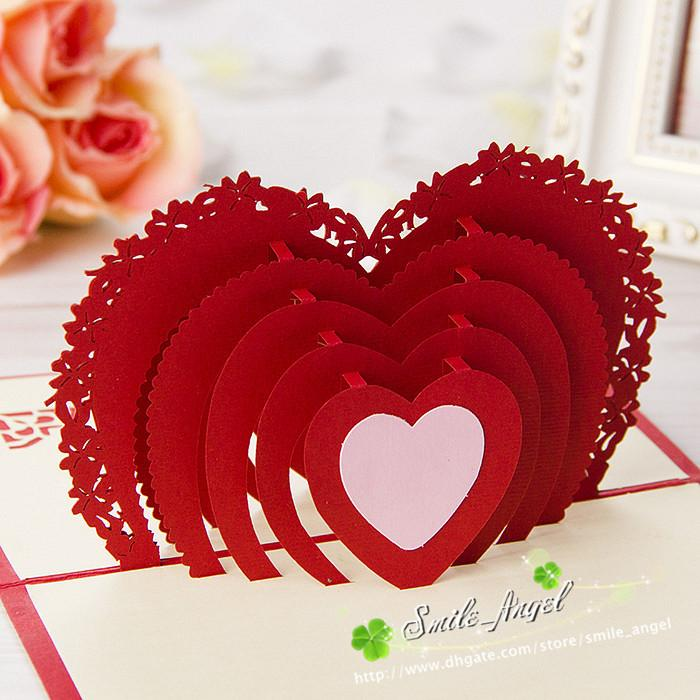 Wedding Greeting Cards Red Heart Design 3d Pop Up Gift Crads Creative Soulmate Wholesale Diy Paper Art Postcards Chinese Best Sale E