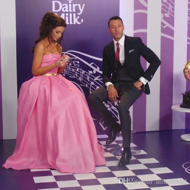 2015 Pink Princess Evening Celebrity Dresses Inspiriert von Libanon Annabella Hilal Strapless Sleeveless Abendkleid Abendkleider Vestidos