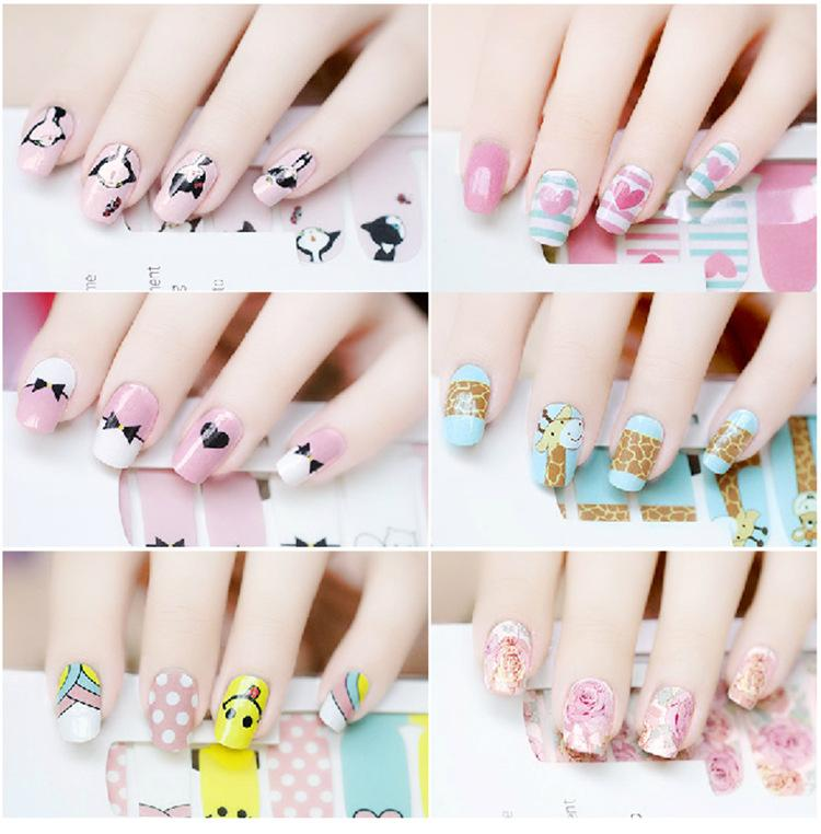 2016 Simple Nail Art Water Transfers Stickers Fresh Doodle Nail ...