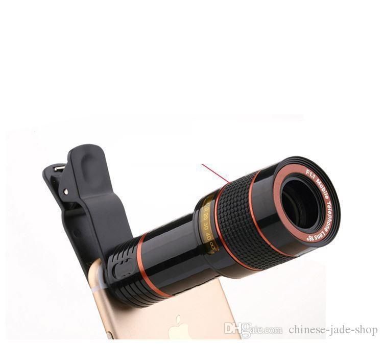 Universal 12x Optique Zoom Telescope Caméra Télescope pour téléphone portable Télescope pour téléphone intelligent dans le paquet de détail /