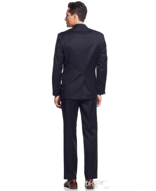 Vente en gros - La dernière version de 100% pure marine manuelle robe trois-pièces messieurs et adapté pour le costume de mariage du marié personnalisé manteau +