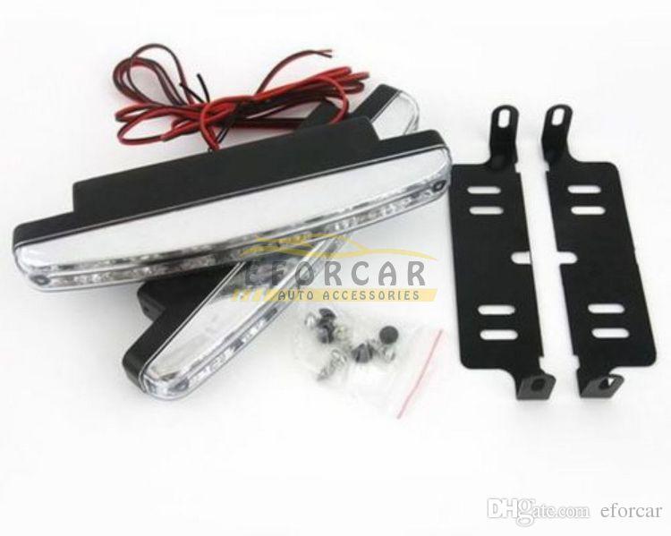 الأبيض 8 LED 12V السيارات جذع النهار الجري الخفيف رئيس مصباح DRL النهار كيت شحن مجاني