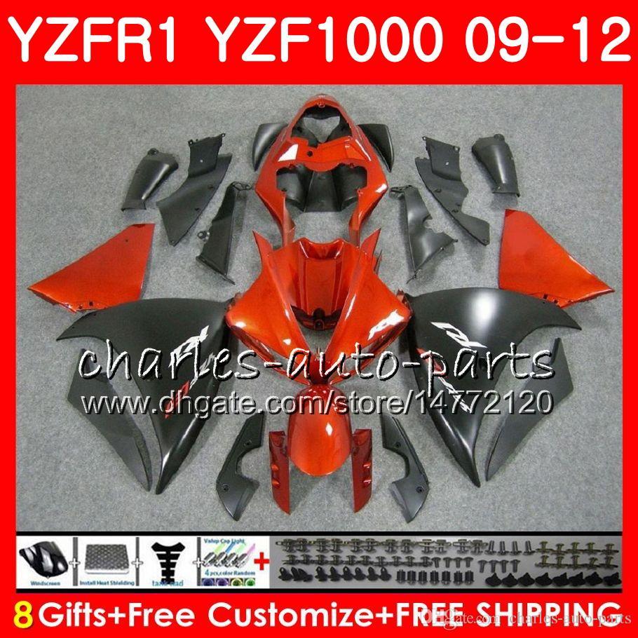 Bodywork For YAMAHA YZF 1000 R 1 YZF-1000 YZF-R1 09 12 Orange black Body 85NO12 YZF1000 YZFR1 09 10 11 12 YZF R1 2009 2010 2011 2012 Fairing