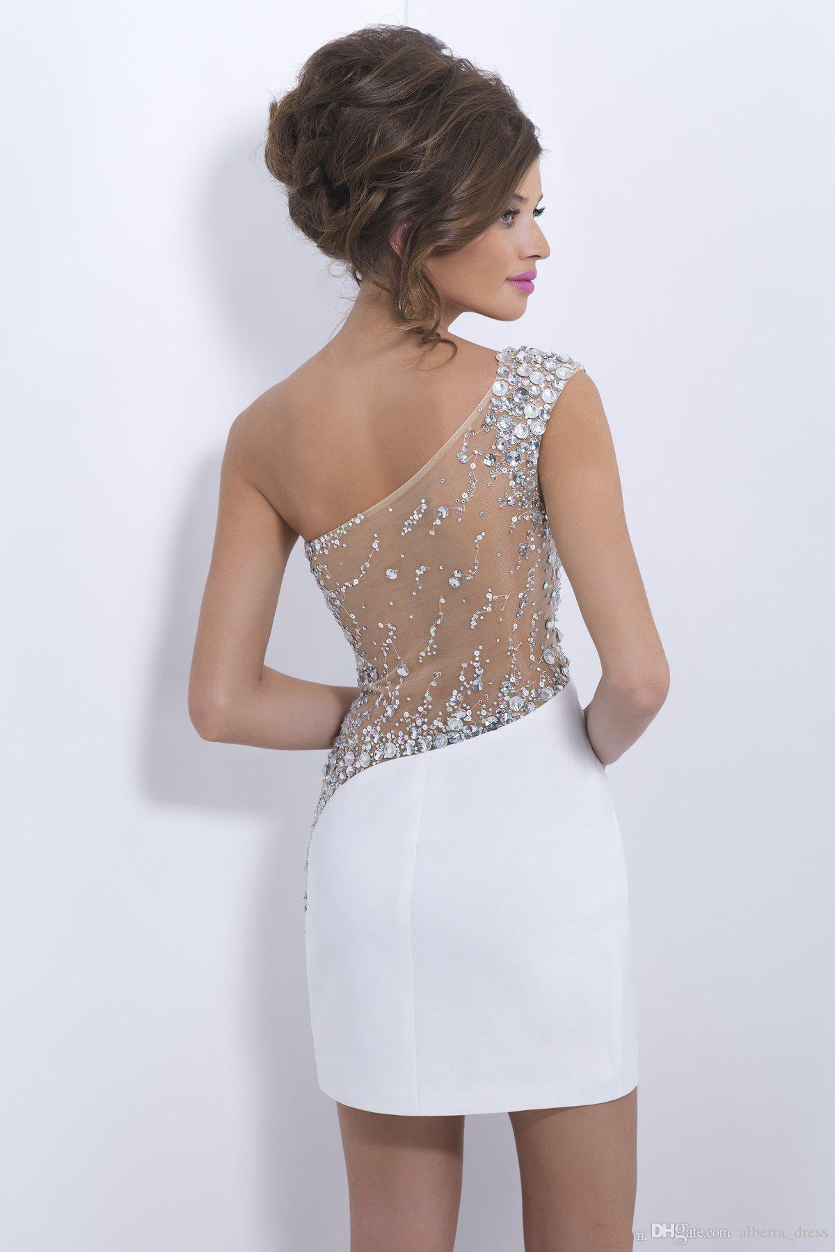 2019 Elegantes cristales Vestidos de cóctel blancos Un hombro Corto Sheer Back Prom Vestidos de fiesta Vestidos de fiesta Sexy Ver a través de atrás Vestido de fiesta de noche