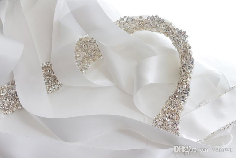 Lusso lungo raso con perle di cristallo affascinante cintura cinture da sposa abiti da sposa di alta qualità fatti a mano accessori da sposa unici a buon mercato