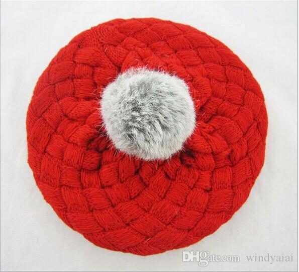 Regalo di Natale cappelli bambini pom pom rosa cappello lavorato a maglia ragazze ragazzi beanie inverno bambino bambini ragazzo ragazza faux caldo all'uncinetto cap 5 M-5 anni bambini