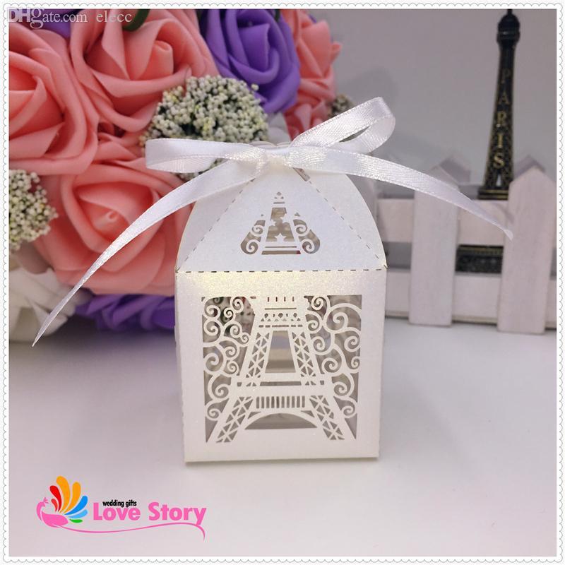 2018 Wholesale 2015 New Eiffel Tower Wedding Favor BoxCandy Box