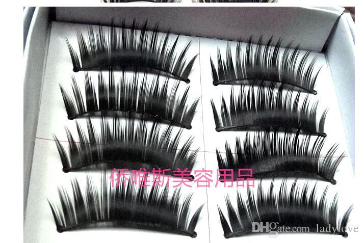 Wholesale-5box= /box Naturalfalse artificial eyelashes Handmade deep black eye makeup necessary False eyelash
