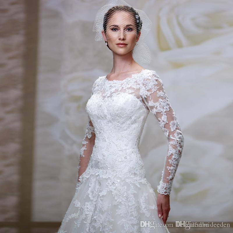 Hot New Fashion Scoop Neckline Lace Applique With Beading A-Line Tulle Fabric Dropped Waist Wedding Dresses Court Train