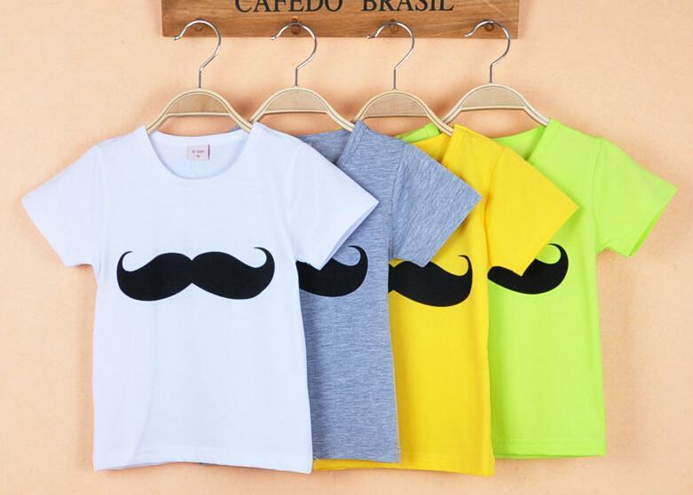 2016 Hot Sales Baby Boys Round collar Mustache Short Sleeve Crew Neck T-shirt Kids Summer Cotton T-shirt Children Top T-shirt