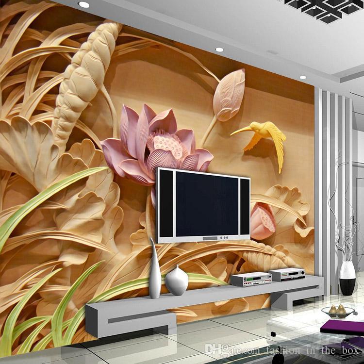 Custom Wall Mural 3d woodcut lotus flower wallpaper personalized custom wall murals