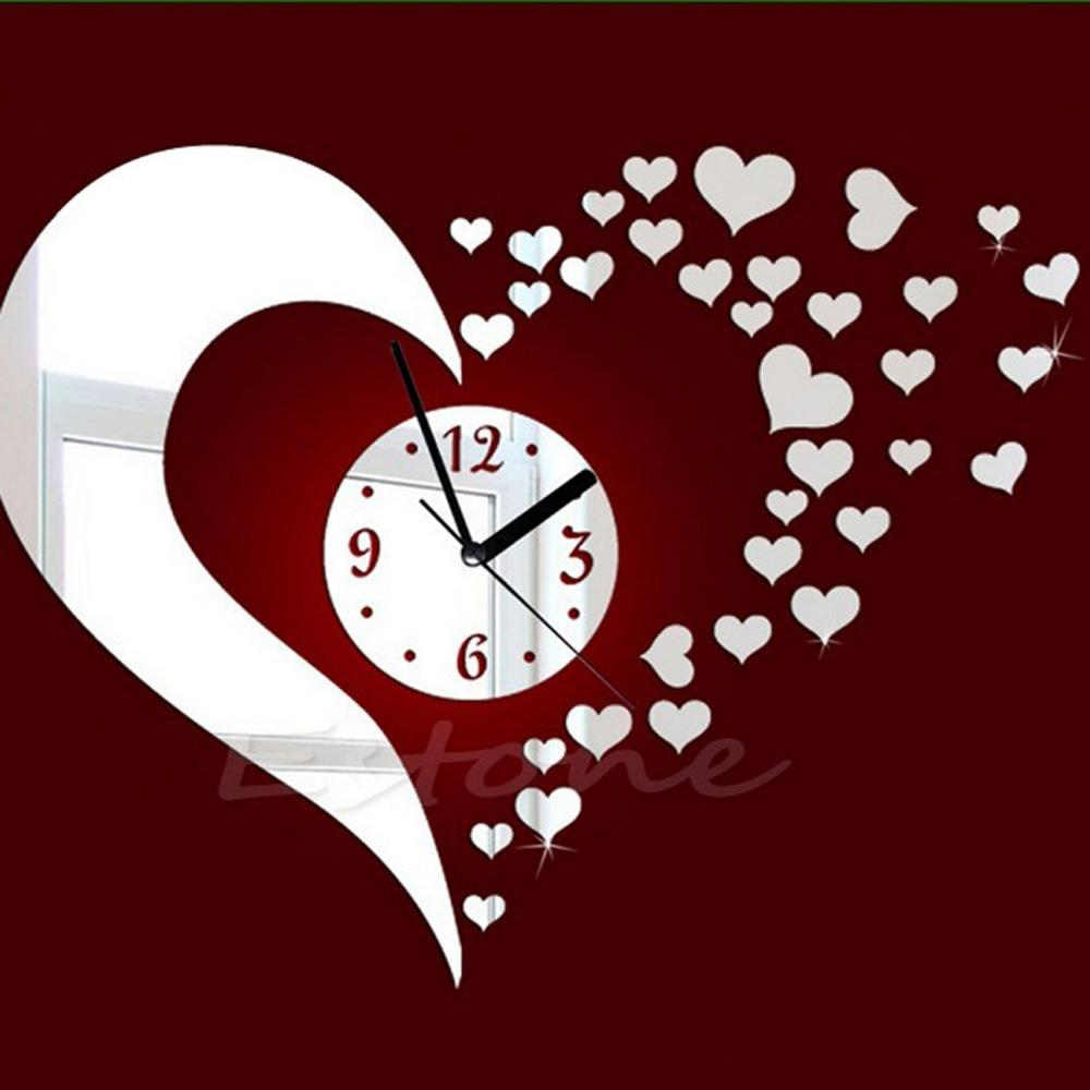 multil functional sticker fashion diy wall clock heart mirror multil functional sticker fashion diy wall clock heart mirror effect quartz wall clock pretty decal set for home decoration quartz wall clocks quartz wall