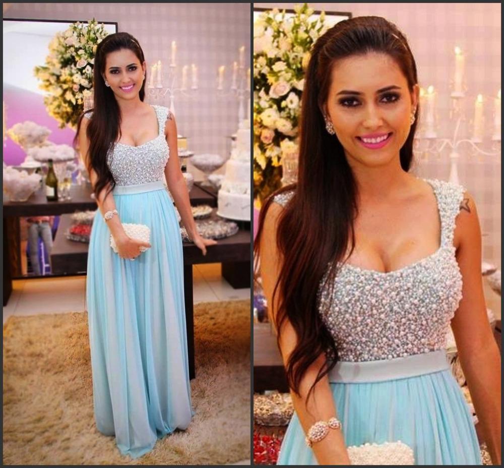 Maior Beading Espetacular longo Prom Dresses Querida A linha de trem da varredura Céu Luz Partido Chiffon Azul Evening Vestidos Vestidos de Festa 2016