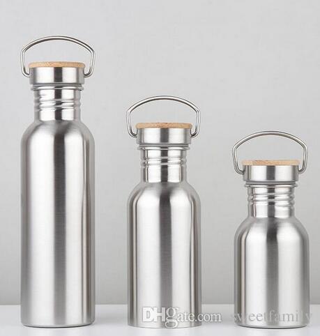50 pçs / lote 750 ml boca larga isolamento a vácuo garrafas de viagem garrafa de água de aço inoxidável de bicicleta com alça