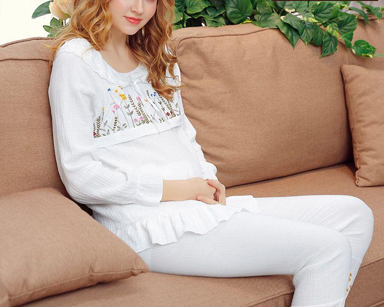 Set di maternità primavera manica lunga casual Ricamo set di pigiama, abbigliamento autunno donne incinte Abiti da notte, R1LDDS-53