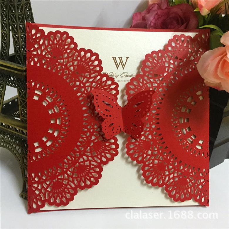 Red Laser Cut Butterfly Wedding Invitations Wholesale Ivory Paper