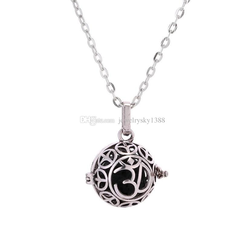 Fashion 7 Styles Black Lava Stone Beads Essential Oil Diffuser Necklace Heart Tree of Life Multi Charms Jewelry for Women