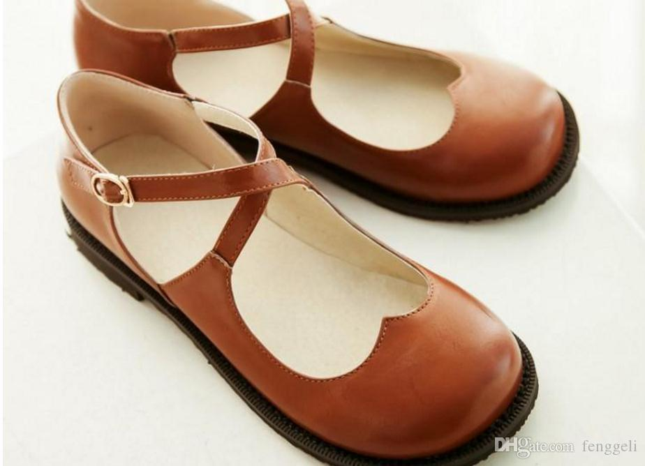 Female doll shoes shoes, the wind buckle flat shoes round Japanese Sen female cross straps lovely