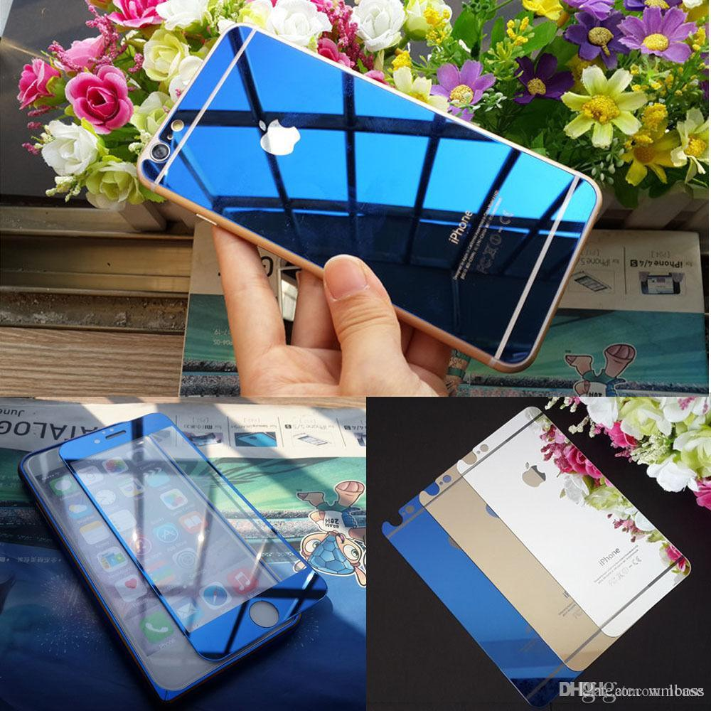 Blue Front Back Mirror Effect Tempered Glass Screen Protector