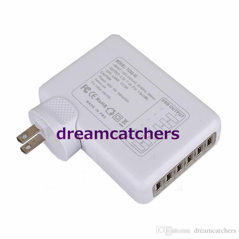 6 포트 USB AC 어댑터 미국 / EU / 영국 / AU 플러그 태블릿 휴대 전화 벽 충전기 아이폰 6s 5s 삼성 전자 ipad HTC 블랙 베리에 대 한 보편적 인