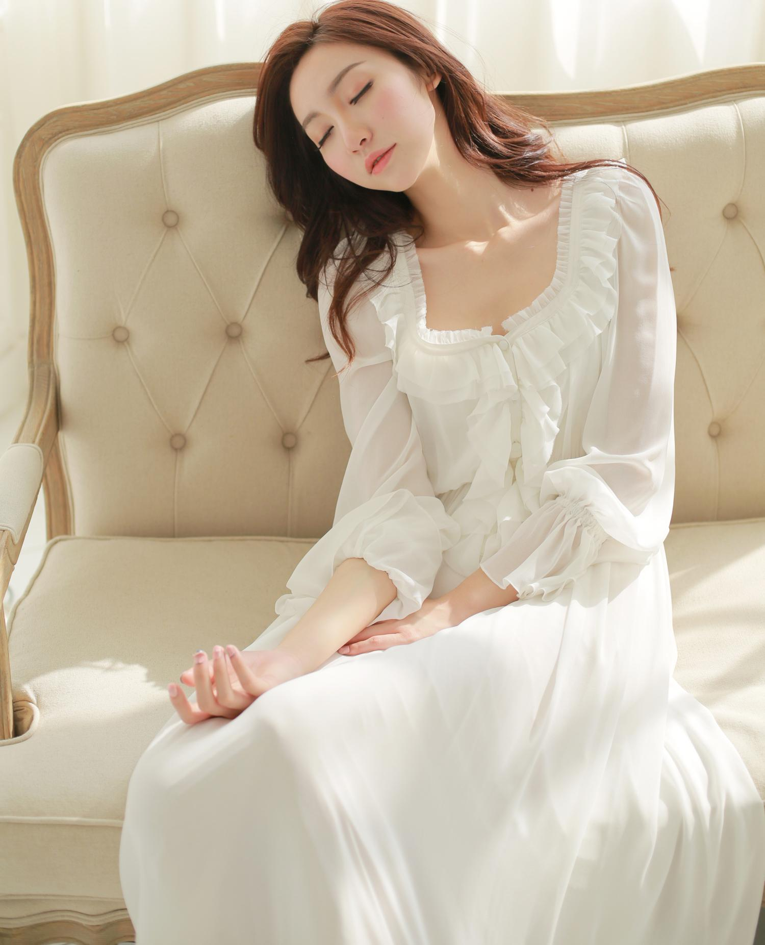 2018 2016 Women New Long White Nightgown Pajamas Princess Chiffon ...