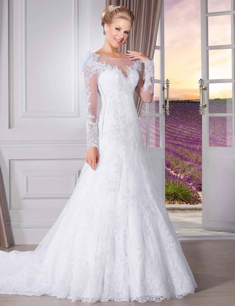 Discount Elegant Pure White Lace A Line Wedding Dresses High Neck ...