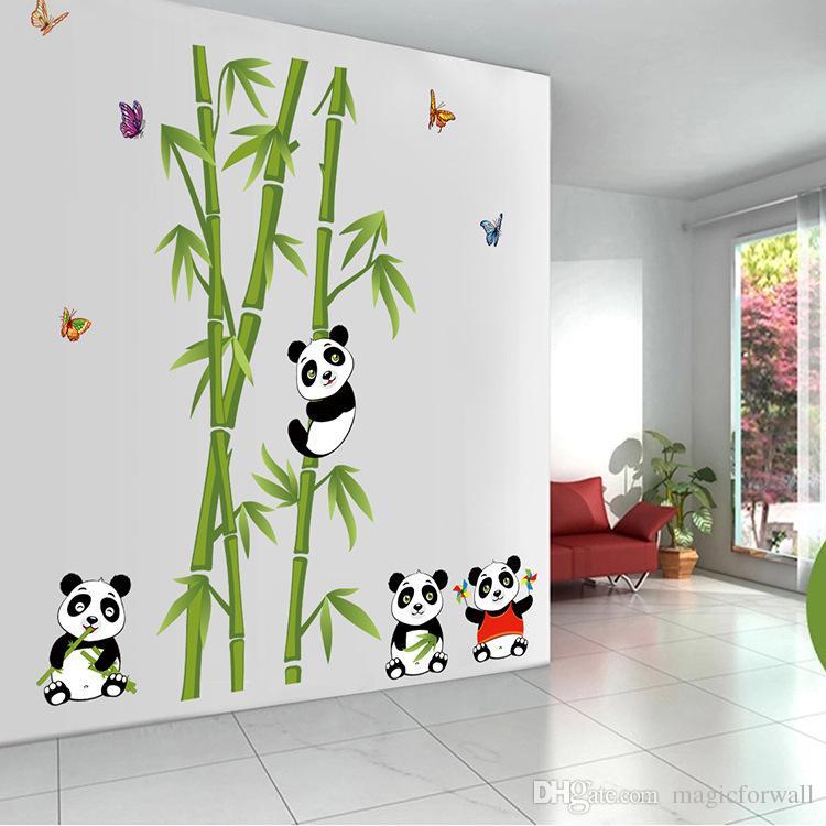 Panda Playing around Bamboos Wall Art Mural Decal Cute Panda Bamboo Home Decor PVC Wall Sticker