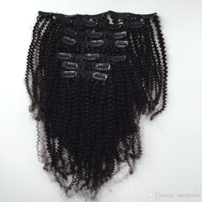 인간의 머리 확장 아프리카 계 미국인 변태 곱슬 인간의 머리에서 변태 곱슬 클립 확장에 인 인도 버진 헤어 클립 클립