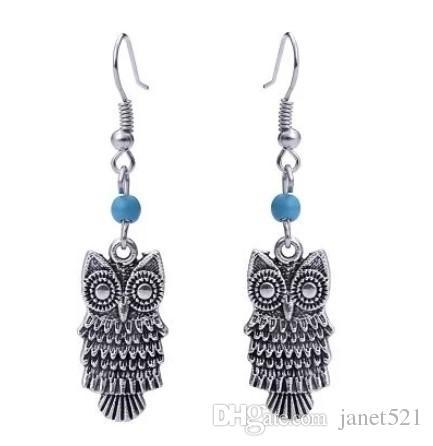 Bohemian Owl Hook Earrings Antique Silver Tone Hanging Earrings Gift Jewelry For Her Tassel Dangle Earrings