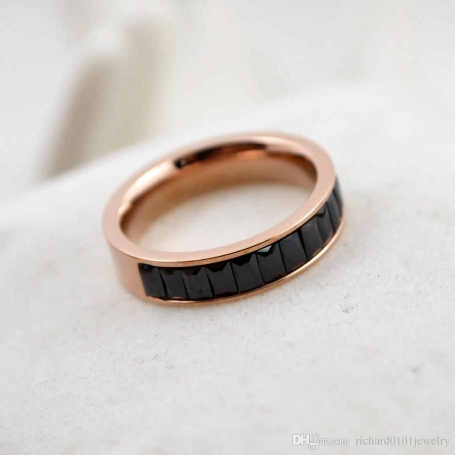 Heißer Verkauf Diamant Band Ringe Top Qualität Titan Stahl Weiß Schwarz Rosa Lila Kristall stieg Gold Ringe für Frauen und Männer Modeschmuck