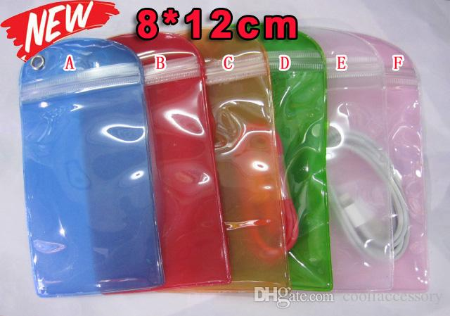 12*8 см водонепроницаемый ПВХ молнии пластиковый розничный мешок красочные упаковки Пакет для Celular телефон батареи USB кабель желе высокое качество