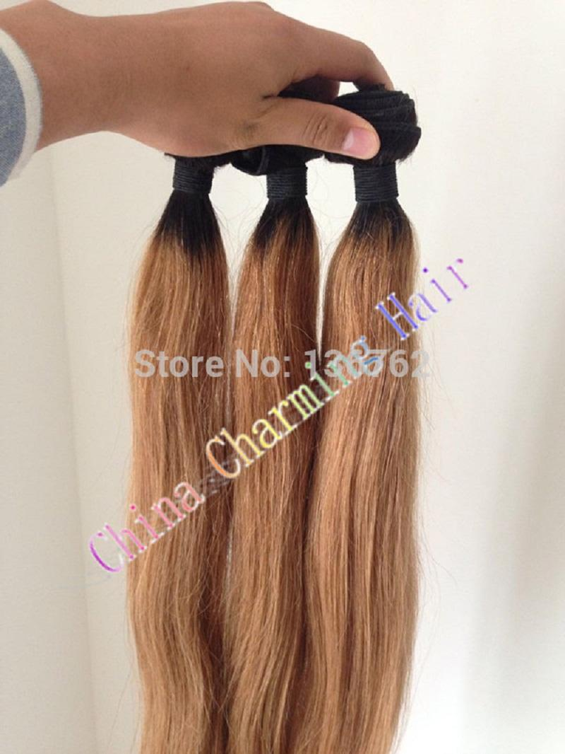 Ombre Hair Extensions #1b/27 Honey Blonde Ombre Dark Root Virgin Human Hair With Lace Closure Two Tone Straight Hair Weave