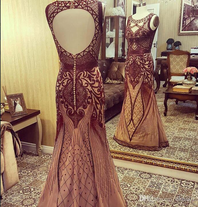 Evening dress Yousef aljasmi Kim kardashian sleeveless O-Neck Beaded Ball gown Long dress gianninaazar ZuhLair murad Kim Kardashian a9