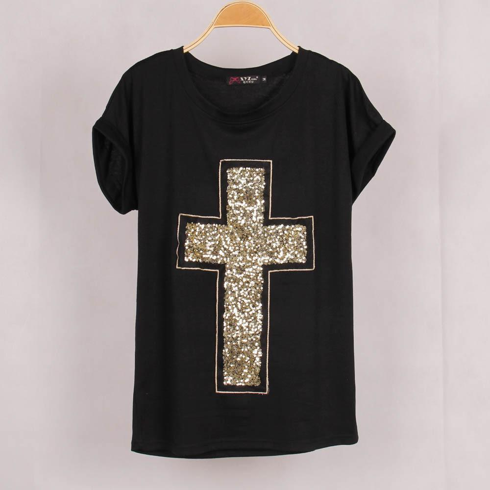 b062a795bb3d7b FG1509 Hot 2015 New Brand Summer Women s T Shirt Gold Sequins Cross ...