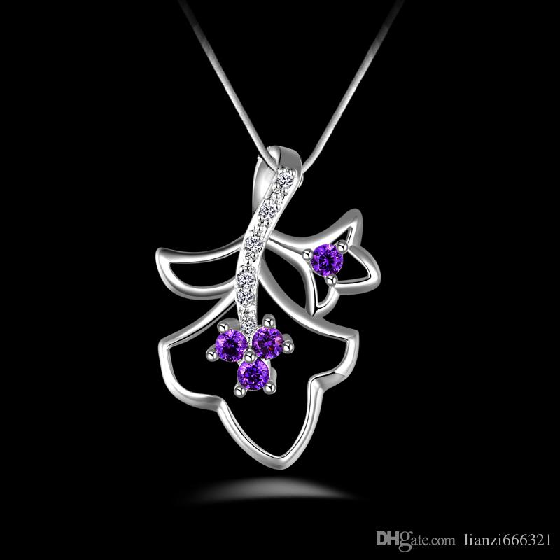 fashion high quality 925 silver Double leave Purple diamond jewelry 925 silver necklace Valentine's Day holiday gifts hot 1667
