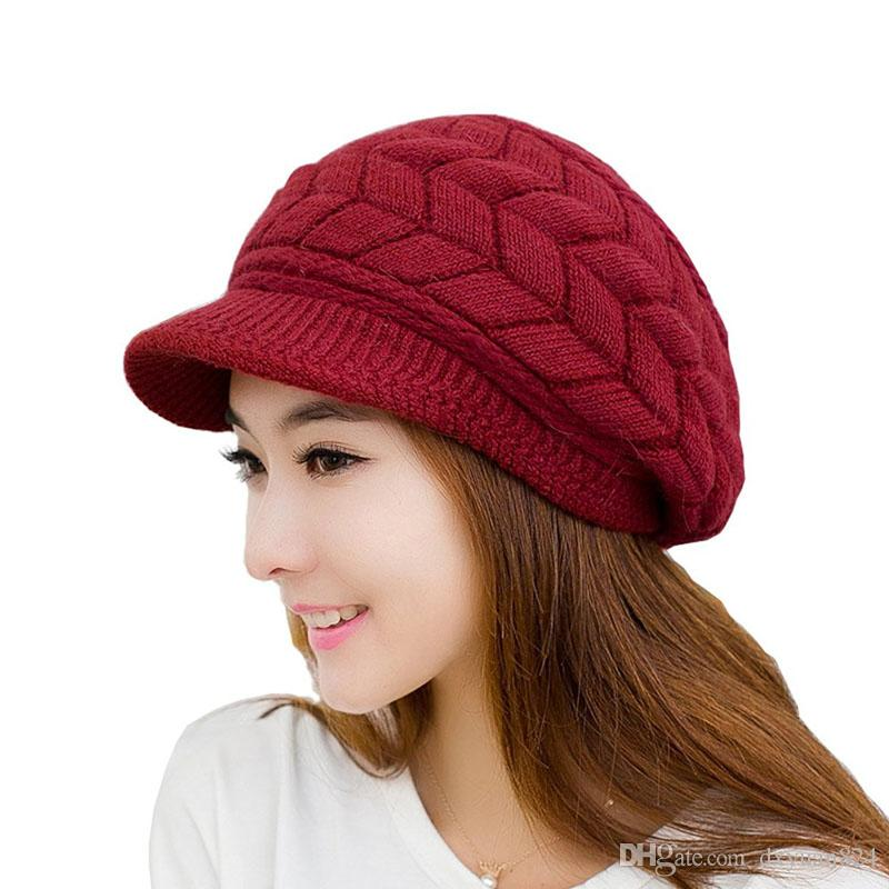 a1d67eafd8bc9 2019 Women Girls Winter Warm Knit Hats Wool Snow Ski Caps Baggy Beret Thick  Soft Fleece Lining Stripe Skull Hats With Visor From Dxyuan824