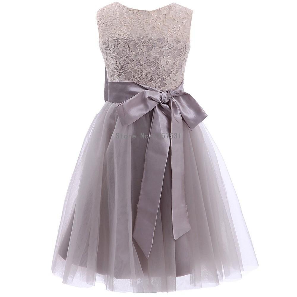 2015 Flower Girls Dresse New Lace Tulle Pretty Grey Flower Girl ...