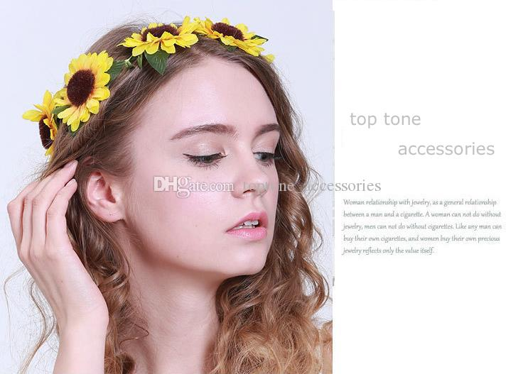 New Women Wedding Floral Crown Sunflower Garlands Girl Hairband Tiara Festival Ornament Bohemian Style Beach Headbands for Wholesale