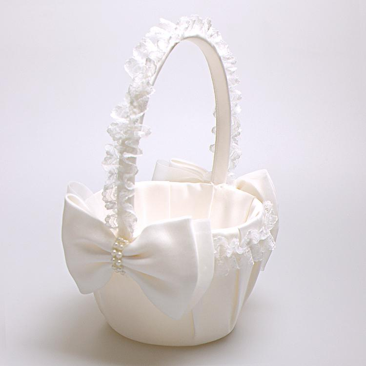 White Lace Edge Flower Baskets With Pearl Bows For Wedding Supplies Bridesmaid Flower Girl Hold Baskets