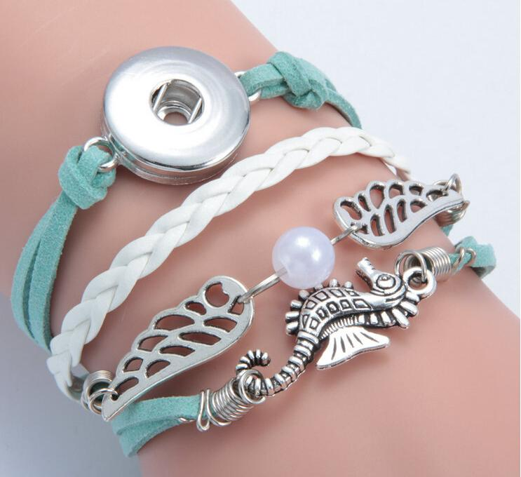 new seahorse wing pearl noosa button diy bracelet alloy pu leater woven handmade snap button bracelet diy jelwery DIY accessories