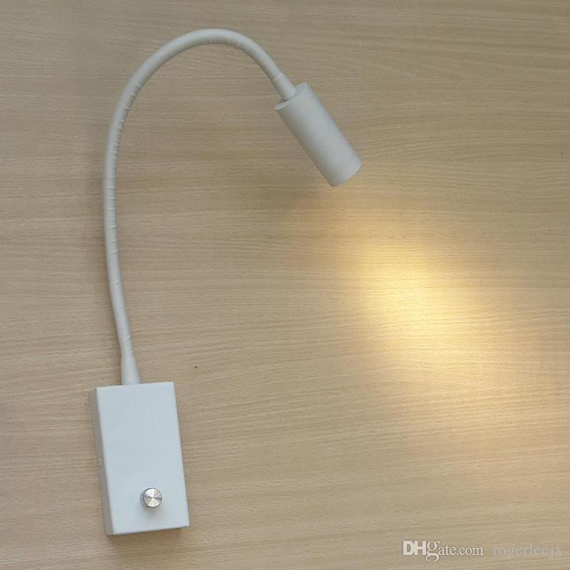 Топось коммутируемая настенная света ручки диммерных ламп Направленный прожектор белая краска ржавсяных алюминиевых шлангов светодиод 3W 200LM компактный минималист