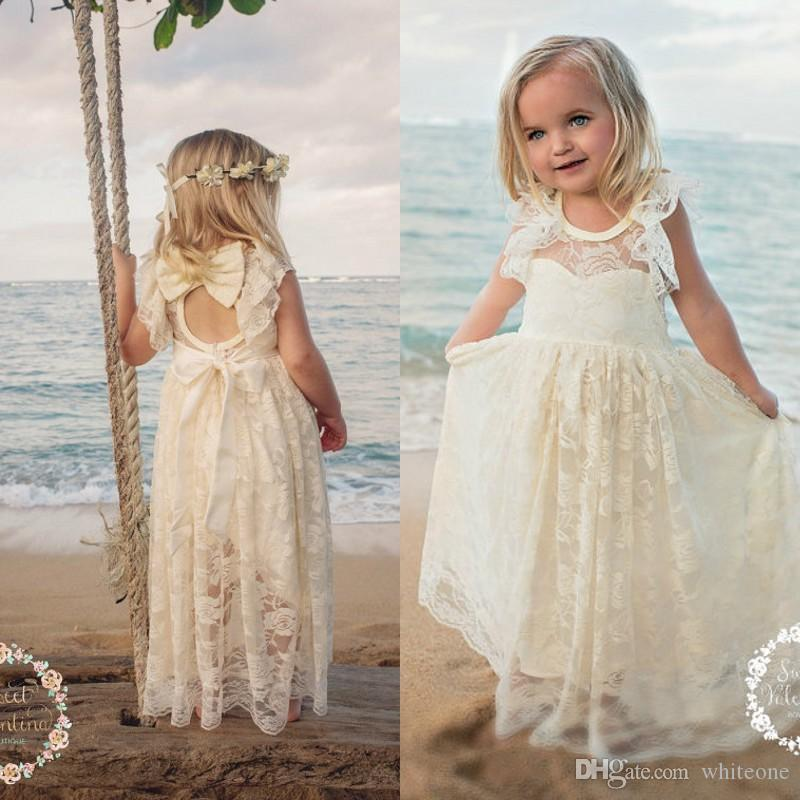 2017 Cute Beach Lace Flower Girls Dresses For Weddings Long Floor Length Simple A Line First Communion Kids Formal Wear