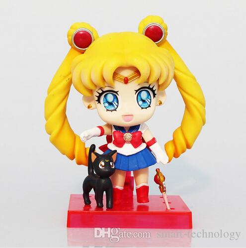 Sailor Moon Figures Tsukino Usagi Q Version PVC Action Figure Toys Collectible Model Dolls Toy 9cm Approx