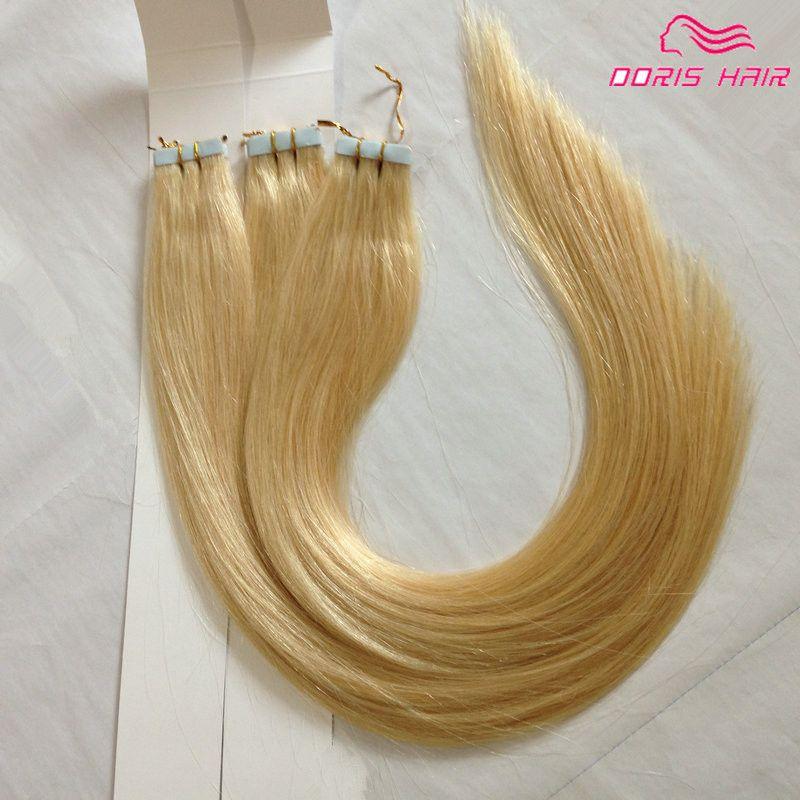 Blond 613 remy Tape extensions de cheveux beaucoup pleine tête peau trame Bande en Extension de cheveux humains