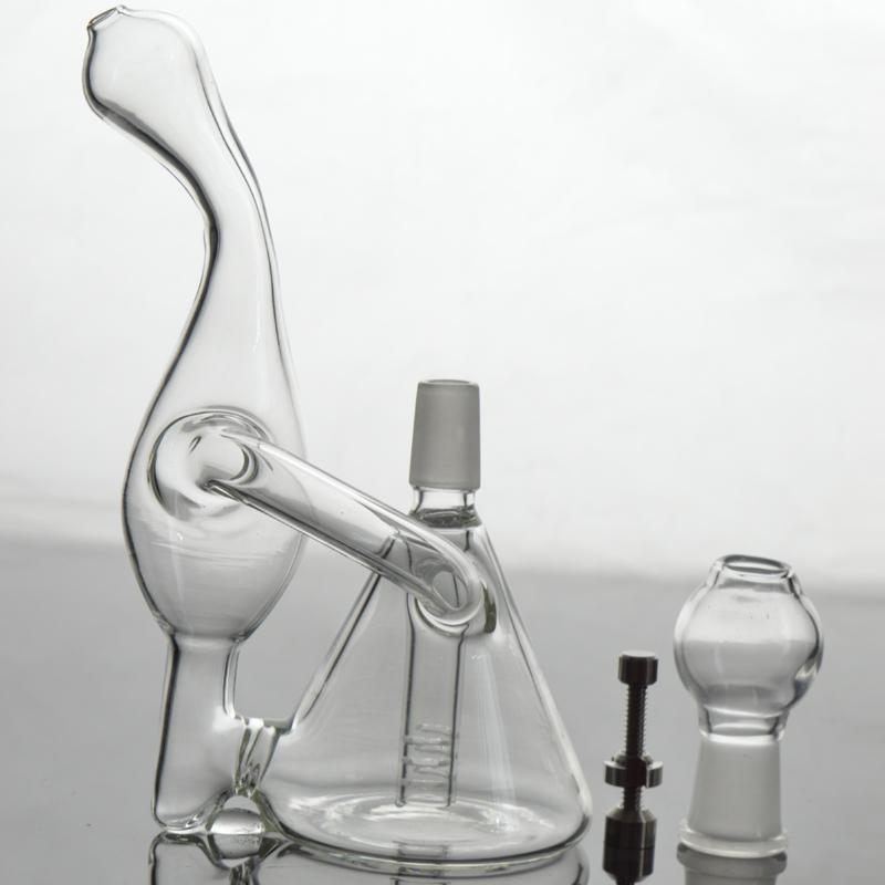 "Small Glass Bongs 5.5"" inches Unique Shape Recycler Oil Rigs Bent Neck 14mm Joint Downstem Water Pipe with Titanium Nail and Nail"