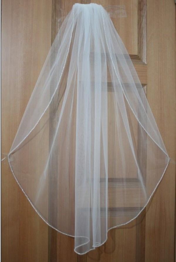 Sıcak Satış Yüksek Kalite Yumuşak Veil Beyaz / Fildişi Düğün Veil Gelin Veils Gelin accessries Bir Katman Basit Tül