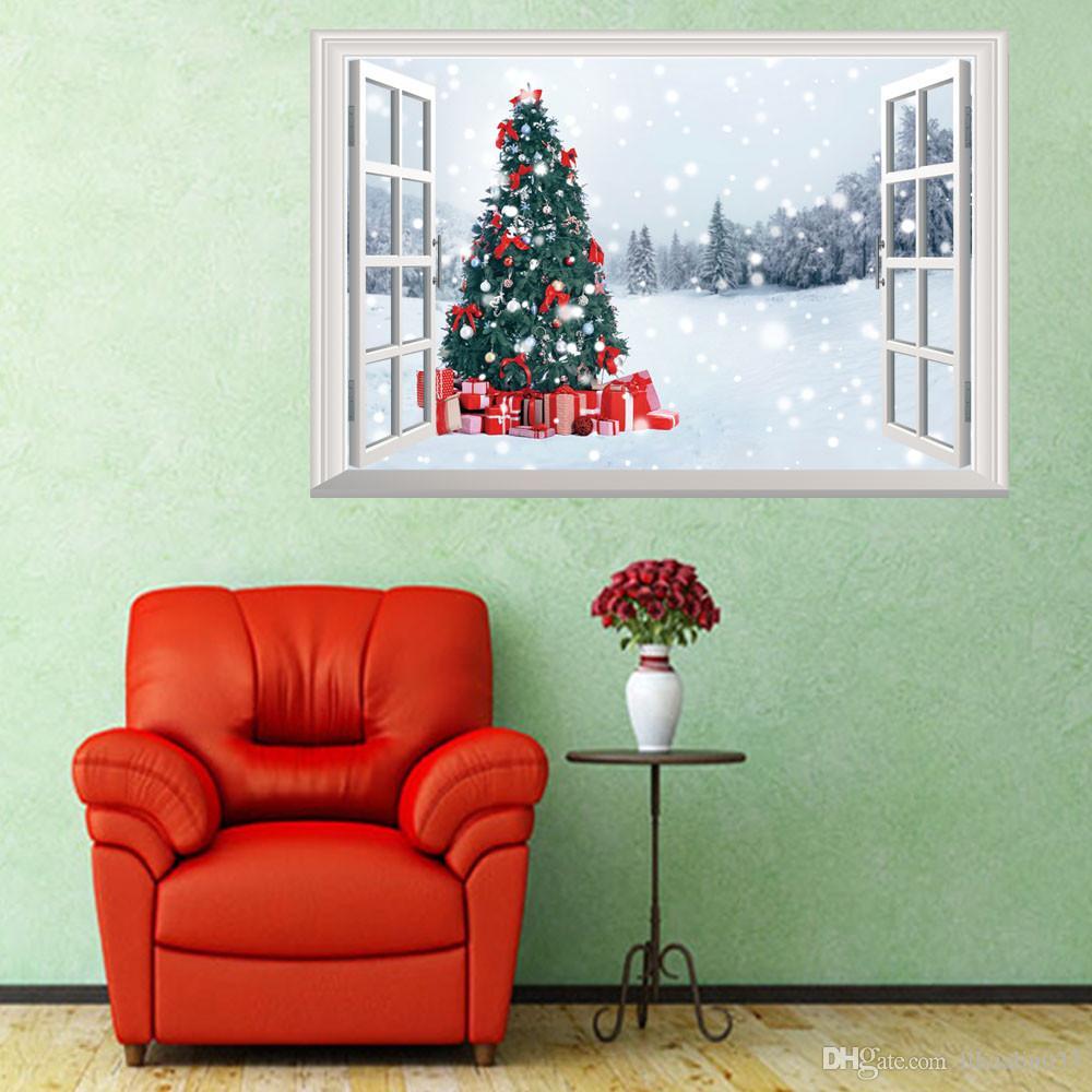 Toptan 1 ADET 72 * 48.5 cm 3D Pencere Noel Dekorasyon Ağacı Duvar Çıkartmaları Su Geçirmez Duvar Kağıdı Ev Dekorasyon